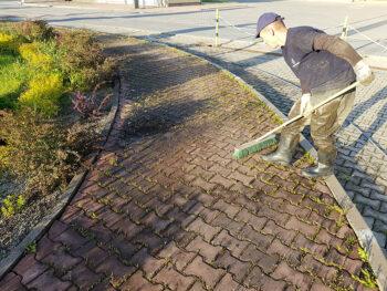 usuwanie trawy z kostki brukowej